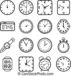 Time and clocks icons set. Timer and alarm, second pointer,...