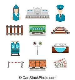 Vector set of railroad icons in flat style Bridge and gate,...
