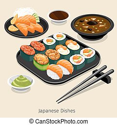 Japanese food set. Tasty menu, rice and roll, ingredient and...