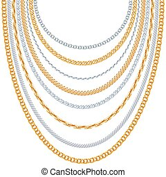 Gold chains vector background Silver hanging, link metallic...