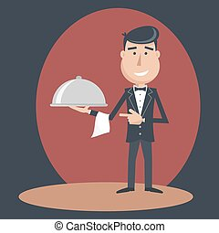 Waiter with dish on outstretched arm Foods Service Simple...