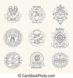 Hipster style handmade beer and craft brewery logo or...