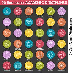 Set of academic disciplines icons. Vector EPS8 illustration....