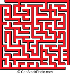 Square maze - Vector illustration of complex red square maze
