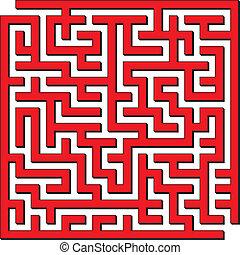 Square maze - Vector illustration of complex red square maze
