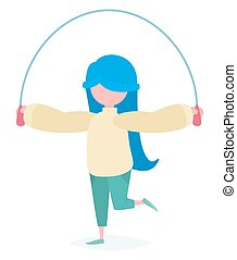 A girl with a skipping rope