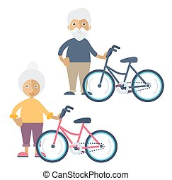 Two old people standing beside their bikes - An old man and...