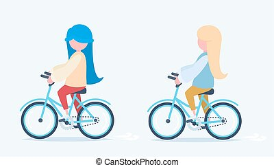 Two girls riding bicycles