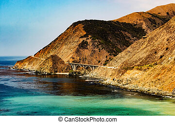 Big Creek Bridge on Pacific Coast Highway taken from the...