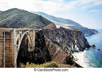 Bixby Bridge on Pacific Coast Highway PCH in California shot...