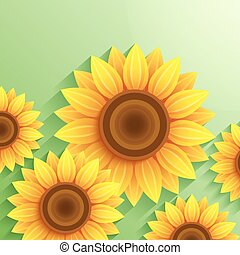 Nature modern background with 3d sunflower
