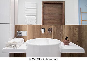 Elegant bathroom with wooden backsplash - Image of elegant...