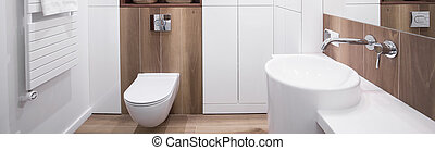 New design white bathroom - Panoramic view of new design...