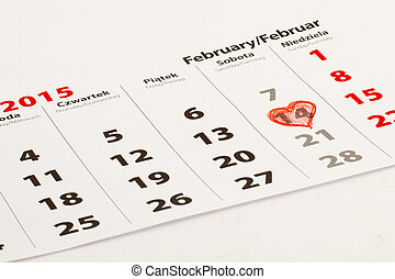14th of February with heart