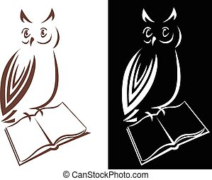 Owl with a bookjournal, vector line drawing