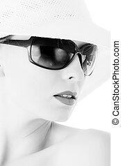 elegante, mulher, sol, ÓCULOS, branca, chapéu,...