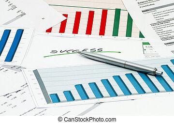 grafici, penna, tabelle, successo