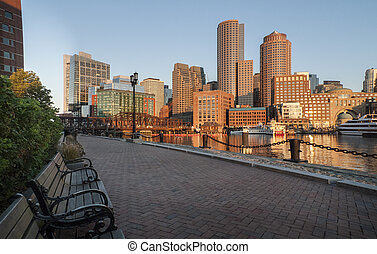 Along Boston harbor - Early morning view of Boston skyline...