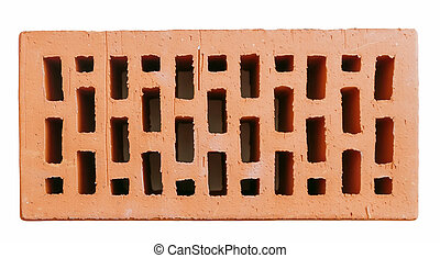 Red hollow wall brick top view isolated on white background.