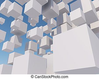 Abstract white cubes 3D background