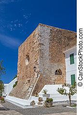 Medieval part of Verge del Toro Sanctuary on Monte Toro top...
