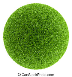 Sphere covered with green grass isolated on white background...