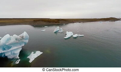 AERIAL VIEW GLACIER ICEBERGS - view from the birds-eye view...