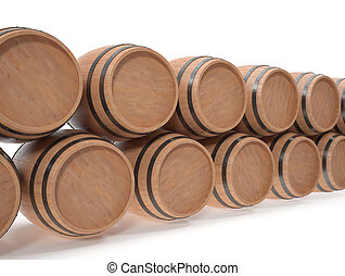 Wooden barrels for alcoholic drinks of beer, wine, rum,...