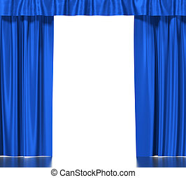 Blue silk curtains with garter isolated on white background.