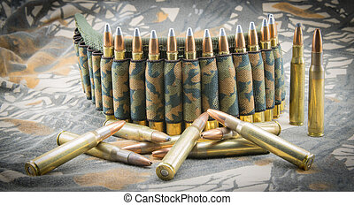Camouflage ammunition belt. - Camouflage ammunition belt for...