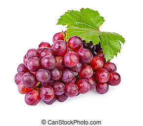 bunch of grapes - bunch of ripe red grapes with leaves...