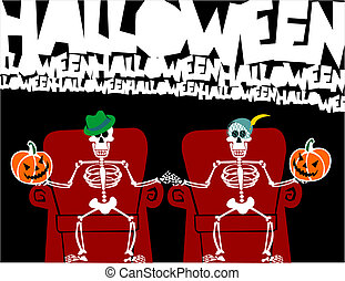 Halloween skeleton couple. Funny greeting card