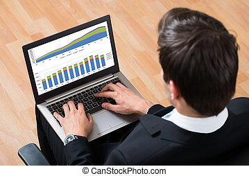 Businessman Checking Financial Report On Laptop - High Angle...