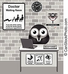 Doctor Waiting Room - Comical bird Doctor waiting room with...