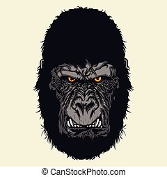 Angry gorilla head - Multi Colors Illustration Of Angry...