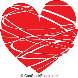 Illustration, rouges, coeur, modèle, fond
