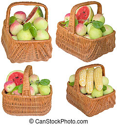 Baskets with fruit and vegetables - Fruit, apples, basket,...