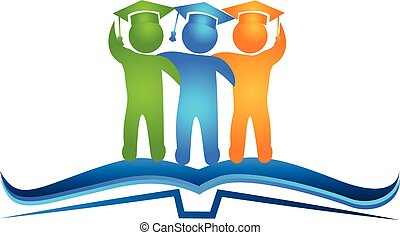 Book and graduates logo - Open book and students figures...