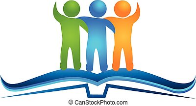 Logo book and friendship figures - Open book and friendship...