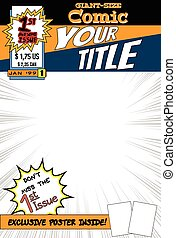 Comic book cover - Editable comic book cover with blank...