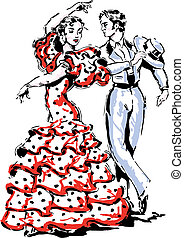 Flamenco Spanish vector illustration - Woman and man...