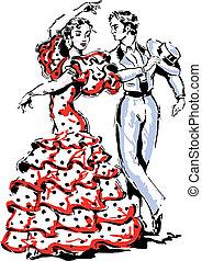 Flamenco, hiszpański, Wektor, Ilustracja