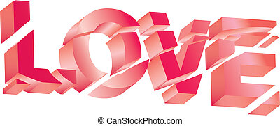 Love text on white background - vector illustration