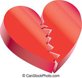 rouges, coeur, Jeu, Trois, dimensions, spécial, jour,...