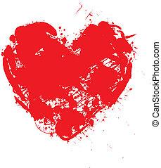 Ilustration, rouges, coeur, modèle, fond
