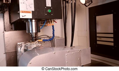 View of milling machine Replacing cutter - View of automatic...