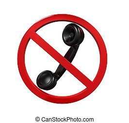 No Phone Sign isolated on white background 3D render