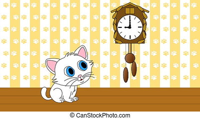 Kitten watching cuckoo clock
