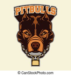 Pit bull Head Mascot - Multi Colors Illustration Of Pit bull...