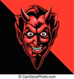 red devil face - Multi Colors Illustration Of red devil face